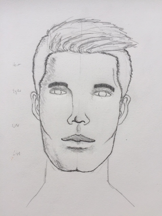 male face: shading